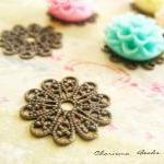 6 Brass Vintage Filigree C..