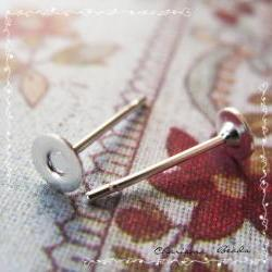 12pcs/6 pairs Earstud Components -Earring Posts- Brass Head and Stainless Steel Pin, Flat Pad Head 4mm, 10mm long